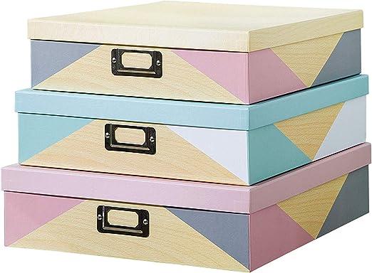 SLPR Cajas de cartón decorativas con placa de metal (juego de 3 ...