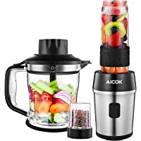 Aicok Blender, Mixeur blender, Mixeur Multifonctionnel 4 en 1, Smoothies, Milk-Shake, Jus. Tasse de meulage 200ml, Hachoir de 1200ml, Tasse Portable de 570ml en Tritan Sans BPA, Inox, 700W