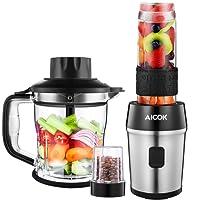 Aicok Batidora de Vaso 700W, Batidora para Smoothie , Picador electrica para Carne Frutas y Vegetales, Multifuncional 2 en 1, Con 2 Vaso de 1.2l y 570ml, Libre de BPA, Negro