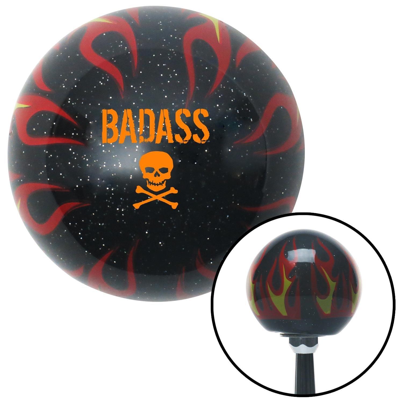 American Shifter 294876 Shift Knob Orange Bad Ass Skull Black Flame Metal Flake with M16 x 1.5 Insert