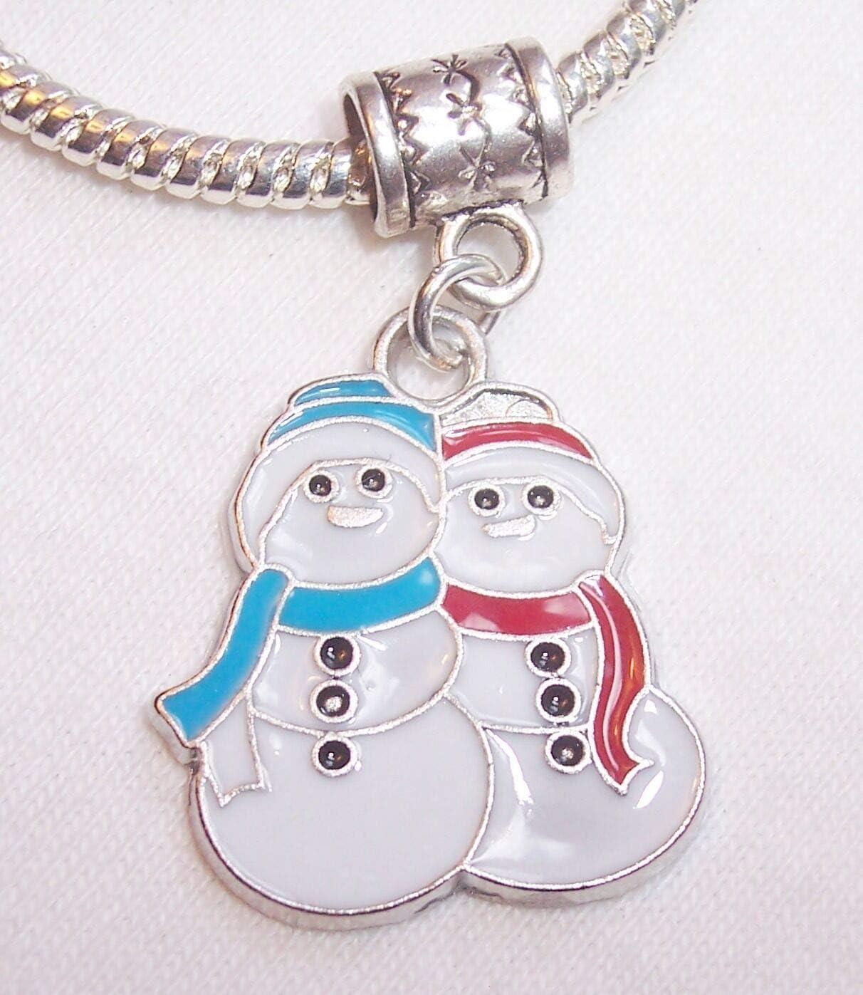 Snowman Snowmen Christmas Holiday Red Blue Dangle Charm for Euro Slide Bracelets