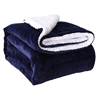 amazon com horom sherpa throw blanket navy blue 60 x80 microfiber