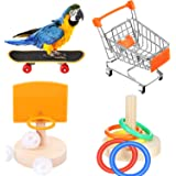 Weewooday 4 Pieces Bird Training Toy Set Include Shopping Cart Basketball Stacking Ring Toy Skateboard Parrot Intelligence To