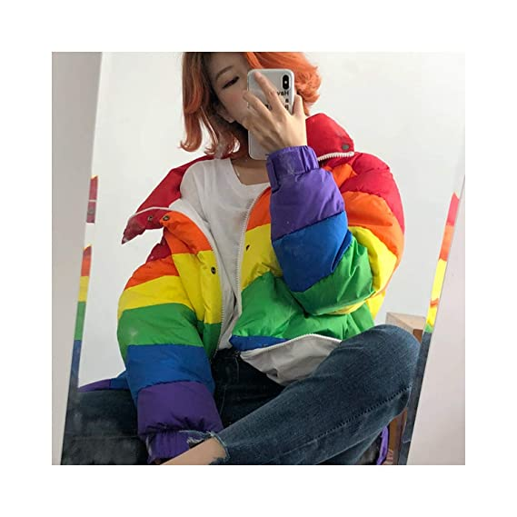 Amazon.com: world-palm Winter Jacket Women Rainbow Wadded Parka Plus Size Loose Striped Padded Coat Multi,One Size,: Clothing
