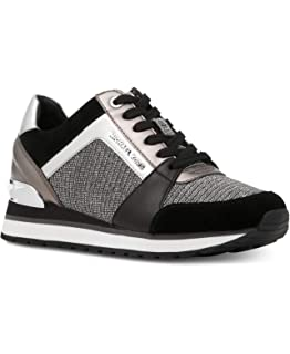 15a114d475a1 Michael Kors MK Women s Billie Trainer Chain Mesh Sneakers Shoes  Black Silver