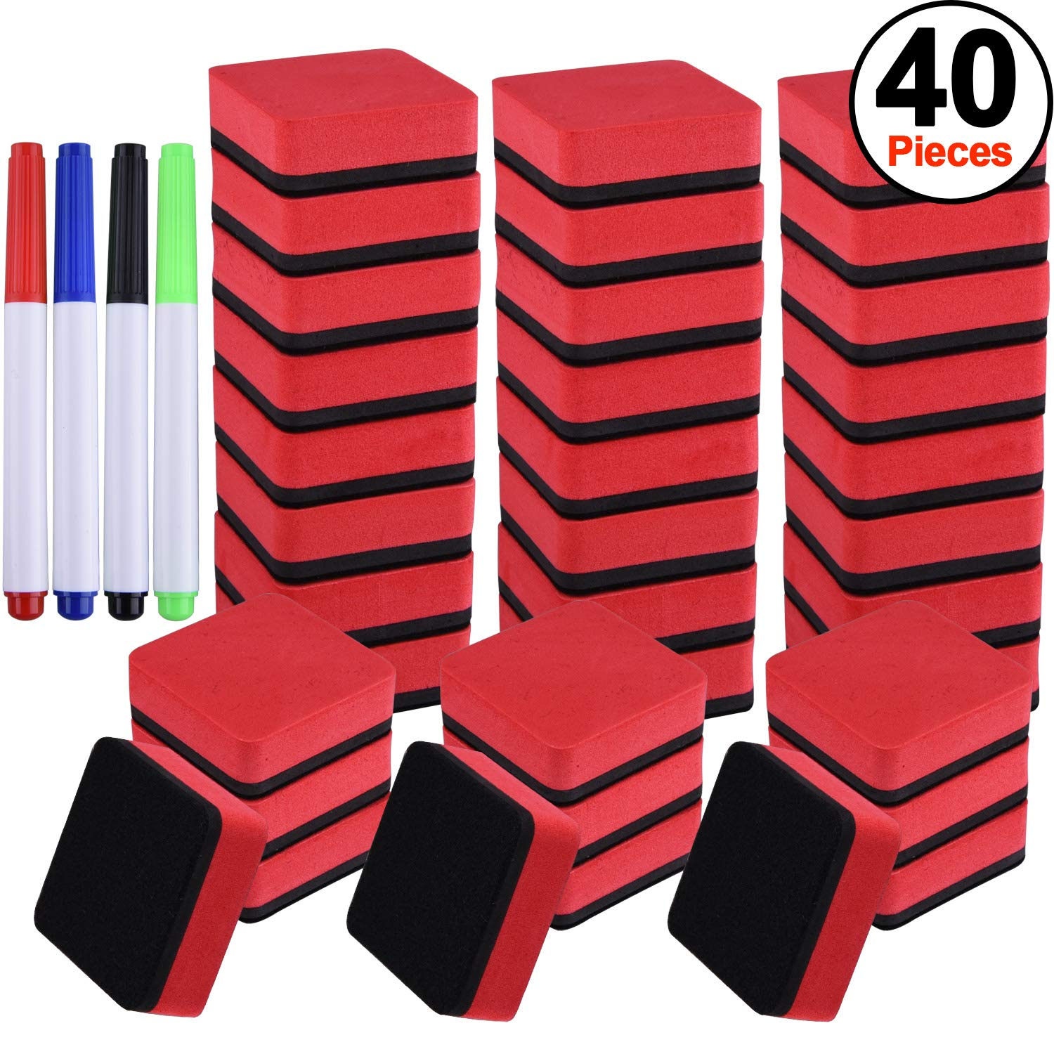 SIQUK 36 Packs Whiteboard Eraser Magnetic White Board Dry Eraser Red Chalkboard Cleansers Wiper(1.97 x 1.97 Inches) with 4 Pieces Dry Erase Whiteboard Markers for Classroom Offices