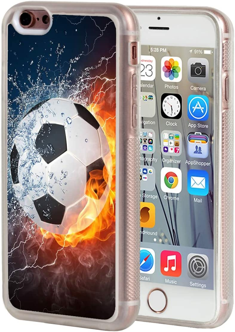 Soccer Ball Football Cartoon Flames Metal Chrome Badge ID Card Holder