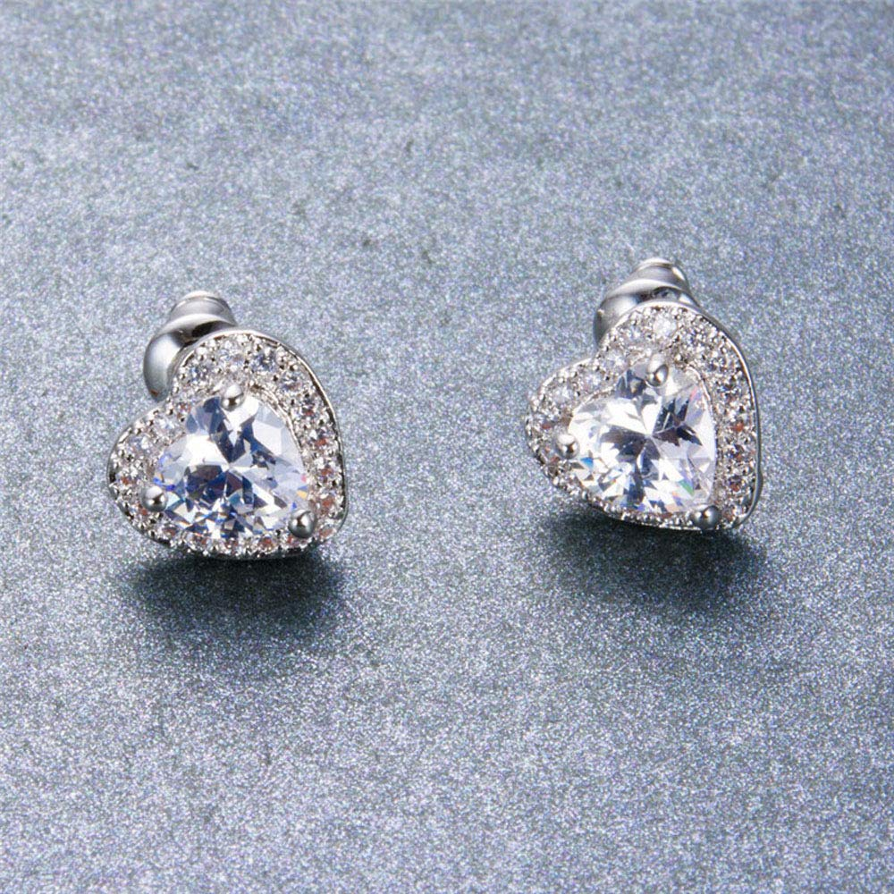 925 Sterling Silver 2.00 Ct Heart /& Round Cut Simulated Diamond Heart Shape Stud Earrings