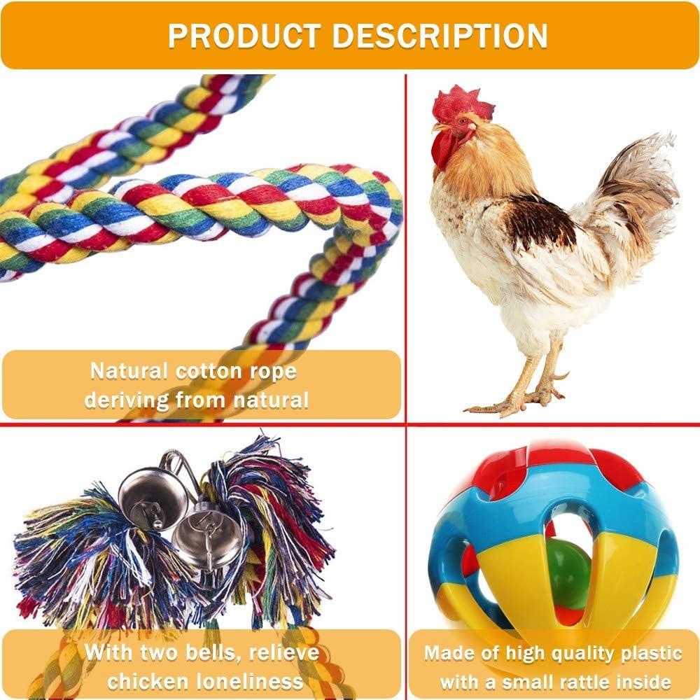 Chicken Hanging Pet Feeder Toys Chicken Coop Supplies Suitable for Hens AprFairy Chicken Veggies Skewer Fruit Holder Chicken Swing Climbing Ropes /& Bell Ball Toys Birds