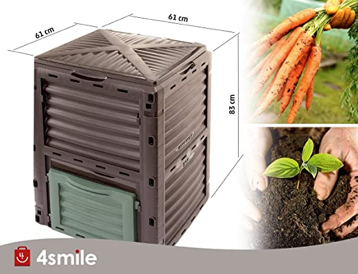 Compostador de compostador 4smile - Made in Europe, 300 L Jardín Papelera, base térmica - Compostador sin para basura orgánica | Color: antracita vegetal de ...