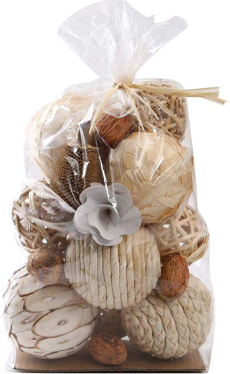 Ciroases Decorative Balls for Bowls Assorted Spherical Natural Woven Twig Rattan Orbs Grapevine Ball for Vase Fillers Table Decor …