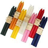 XIANGZHU 7 Pair 100% Pure Beeswax Handmade Taper Candles, 9 Inch Smokeless Dripless Wax Candles, Beeswax Candle for Home Gift