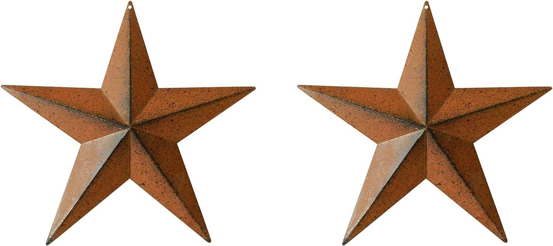 TAIANLE.barn star outdoor decor,Tin 3D Metal Barn Star,Rustic/Black Color,Country Primitive Rustic Antique Vintage Gifts,Wall/Door/Garden Decor, 12-Inch, Set of 2