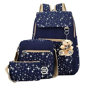 Mochila Escolar de Estrela Mochilas Viaje Escolares de Moda con Un Muñeca Del Oso Para Niñas Adolescentes 3pcs Azul: Amazon.es: Equipaje