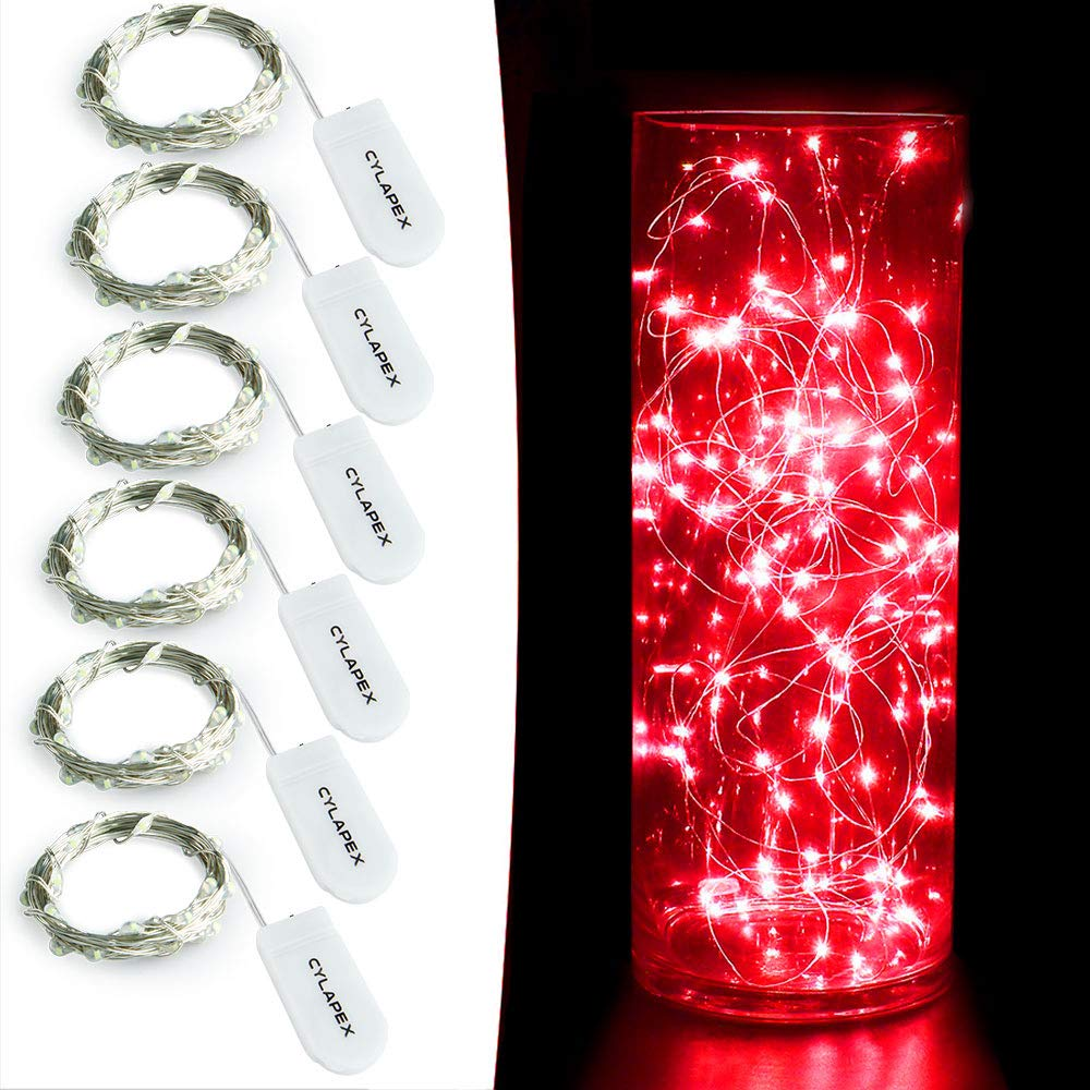 Cylapex 6 Pack Red Fairy String Lights Battery Operated Tv Led Mito 17 Firefly Micro Starry On 72ft 2m Silvery Copper