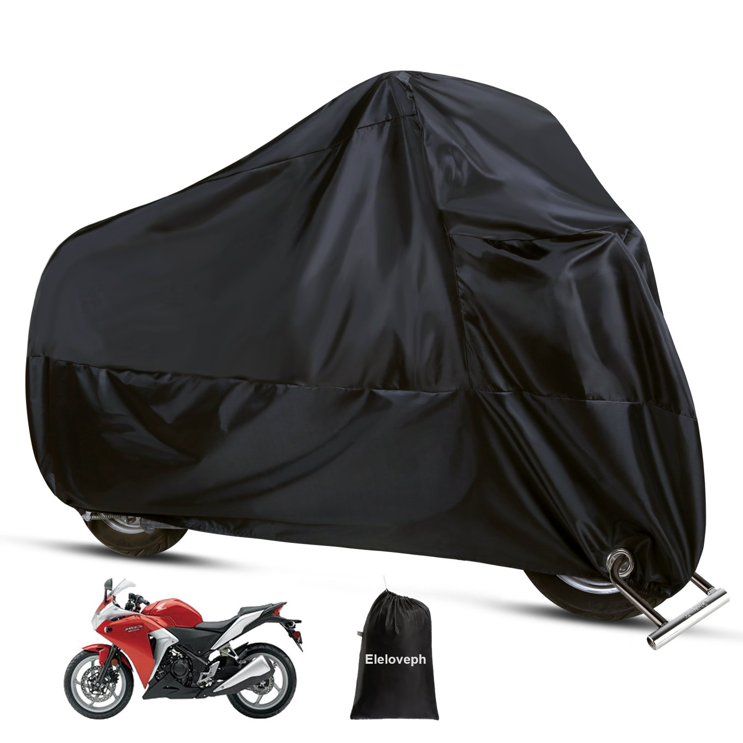 Motorcycle Cover - All Season Waterproof Outdoor Protection - Precision Fit for Tour Bikes, Choppers and Cruisers - Eleloveph Protect Against Dust,Rain,Snow and Sun (XXL-96''x41''x49'', Black)