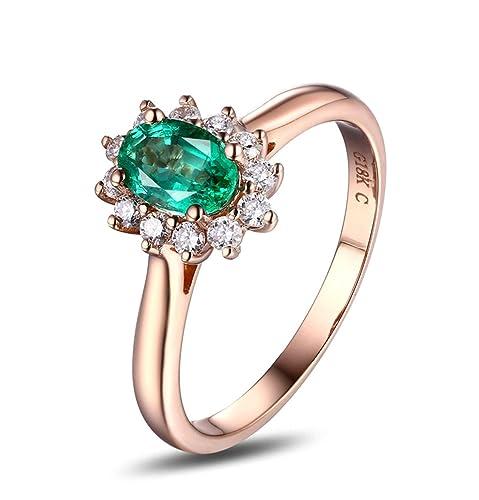 Epinki 18k Oro Anillos para Mujer óvalo Flores Anillo Solitario Anillos de Compromiso con Blanco Verde Diamante Esmeralda: Amazon.es: Joyería