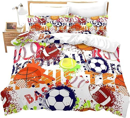 New Boys Red Blue Sports Soccer Football Basket Comforter Bedding Set Reversible