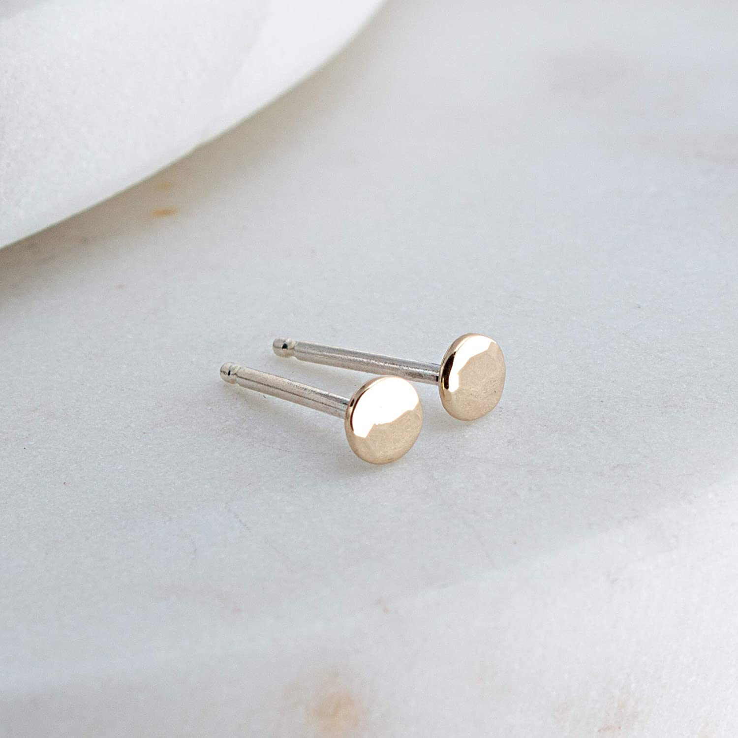 14K Solid Gold Earrings Hammered Disc Dot 3mm Studs with Sterling Silver Posts SG-SS-3MM-Hammered