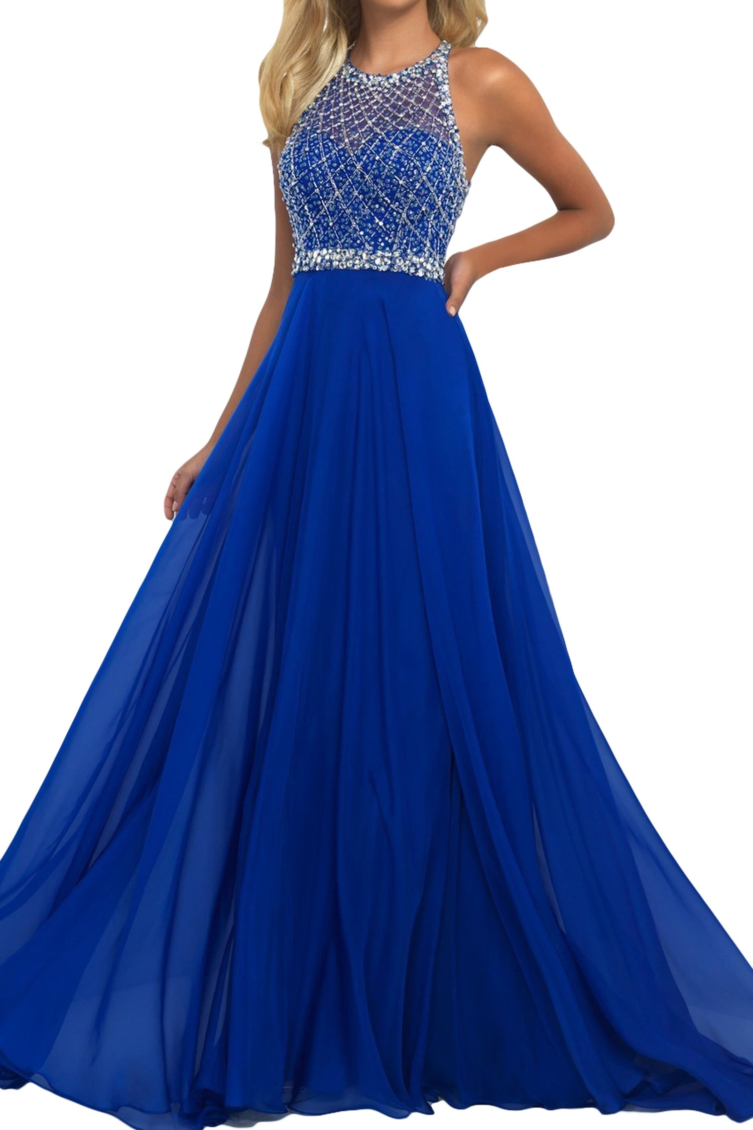 SeasonMall Women's Prom Dresses A Line Halter Open Back Chiffon & Tulle Dresses Size 2 Dark Royal Blue by SeasonMall