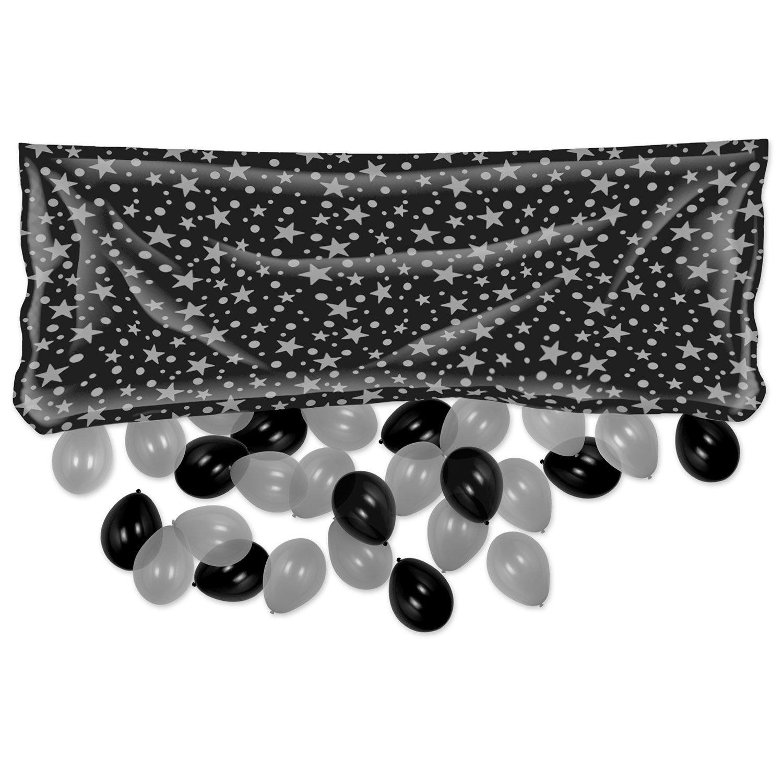 "Léopard 54613-bkgd Plastique Noir/doré Ballon Sac Avec Ballons 3' By 6' 8"" Black/silver"