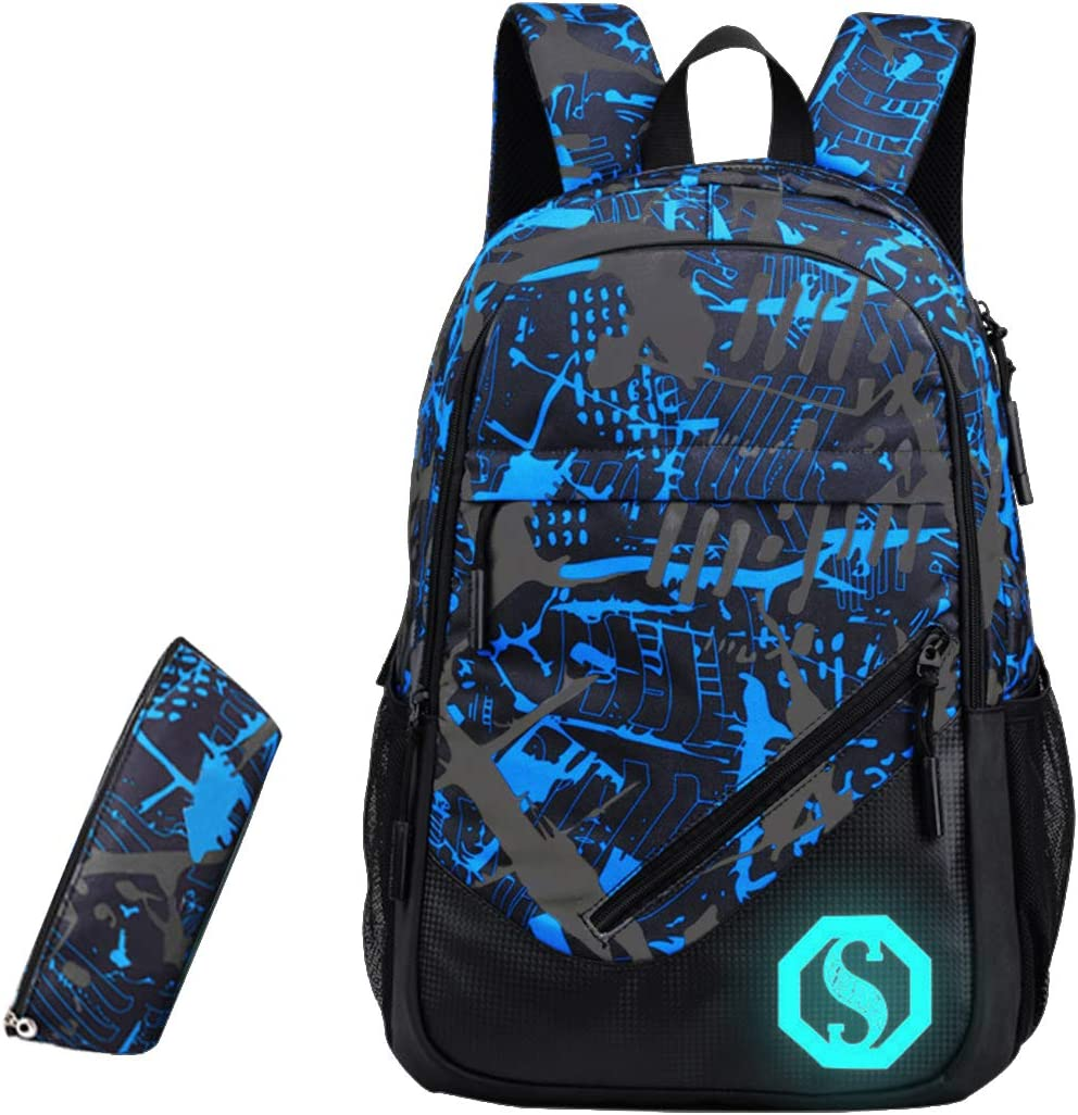JiaYou Boy 20L Fashion School Bag Backpack with Florescent Mark 3 Sets/2 Sets(ColorF 2 Sets,20L)