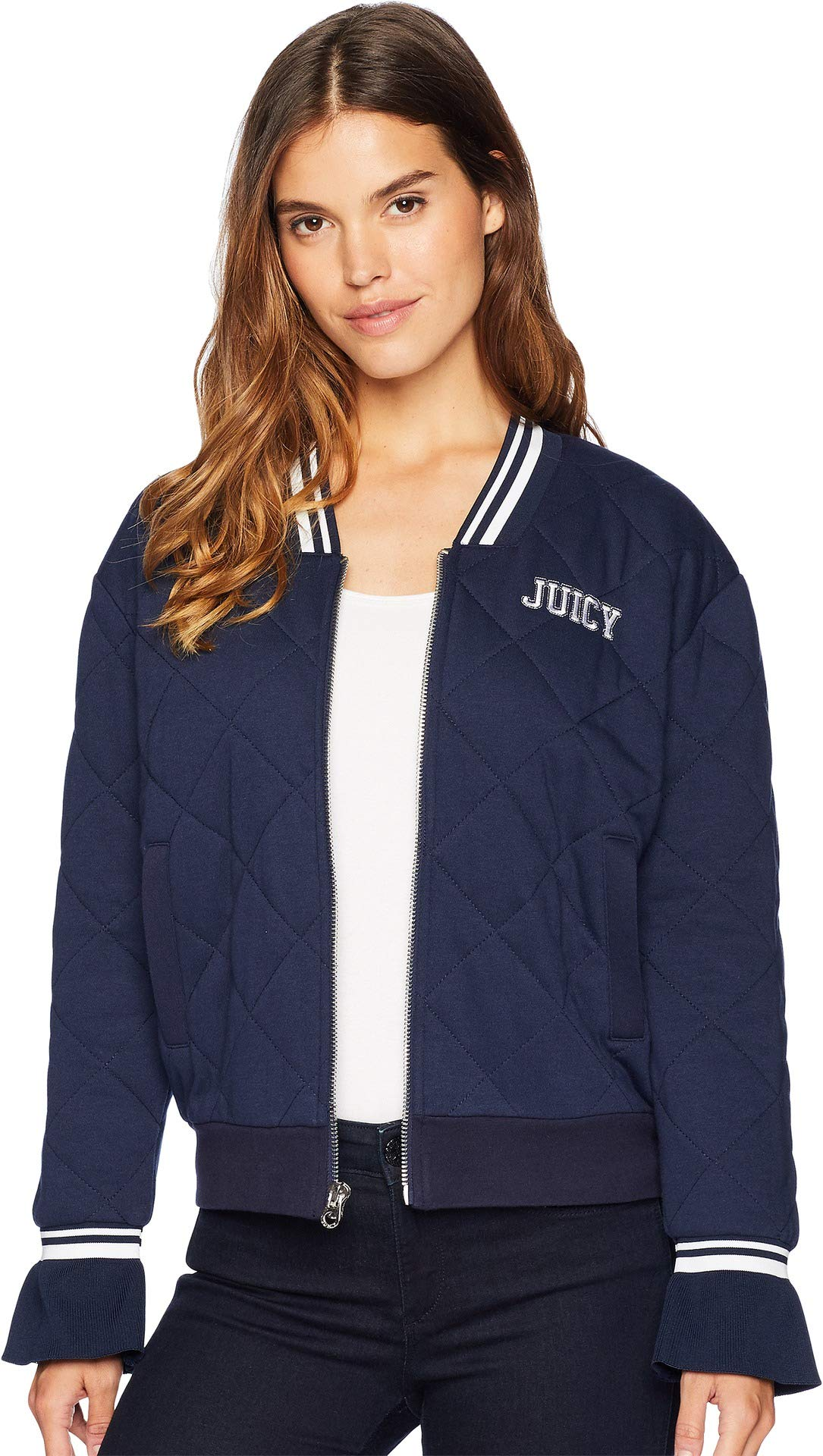 Juicy Couture Women's Quilted Terry Bomber Jacket Regal Petite/X-Small