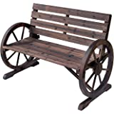 Outsunny Wooden Wagon Wheel Bench Rustic Outdoor Patio Furniture, 2-Person Seat Bench with Backrest
