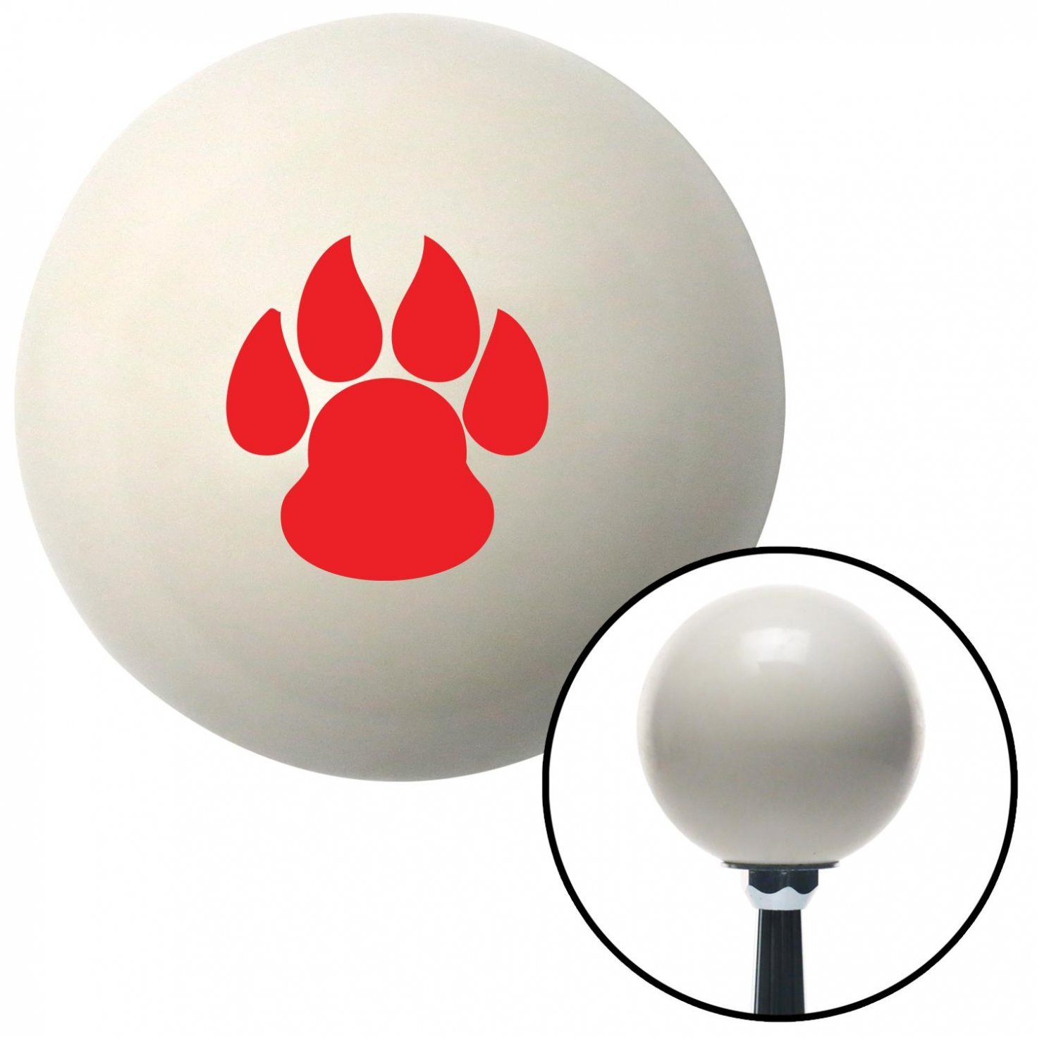 American Shifter 41292 Ivory Shift Knob with 16mm x 1.5 Insert Red Pawprint Sharp