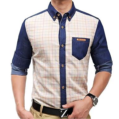 c6a21a19100 jeansian Men s Casual Slim Long Sleeves Dress Shirts Tops MCF015 Begei XL