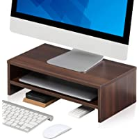 FITUEYES Monitor Riser Stand 2 Tier PC Laptop TV Screen Desk with Storage Shelf, 42.5x23.5x14cm Walnut Brown DT204203WB