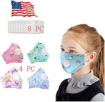 4PC Adjustable Kids Face Bandanas,Childrens Printed Face M/àSc Bandanas,with Breathing Valve and 8 Filter Sheet
