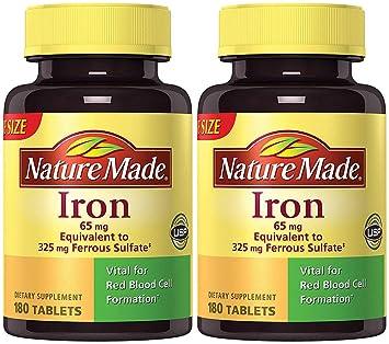 Amazon.com: Hierro natural fabricado 65 mg (del sulfato ...