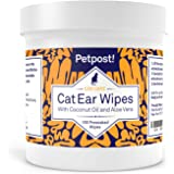 Petpost Pet Ear Cleaner Wipes - 100 Ultra Soft Cotton Pads in Coconut Oil Solution - Treatment for Dog & Cat Ear Mites & Pet Ear Infections