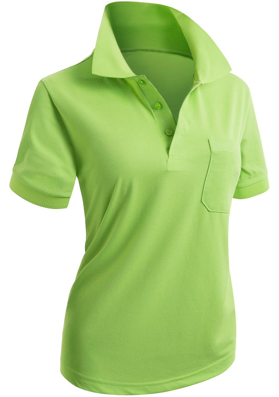 CLOVERY Women's Team Uniform Short Sleeve Polo Shirt LightGreen US L/Tag L