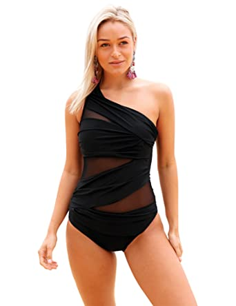da667f87112 Luvamia Womens One Shoulder Ruched Mesh One Piece Swimsuit Bathing Suit  Maillot Black US 12 at Amazon Women s Clothing store