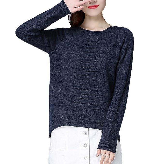 Moda Mujer Casual Manga Larga Casual De Punto De Punto Blusa Baggy Blusa Camiseta Multicolor,