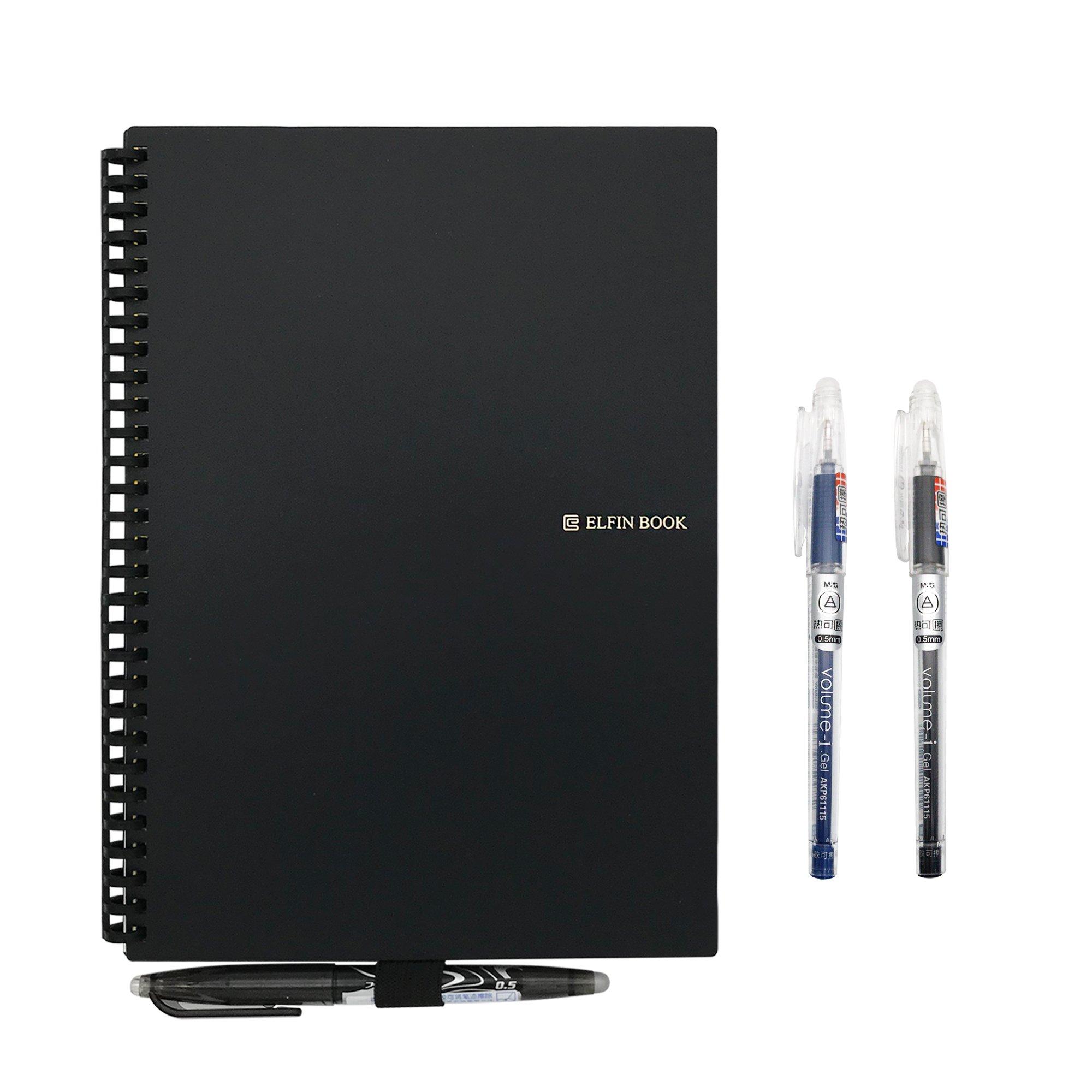 [2018 UPGRADED] Newest Version Elfinbook Smart Wirebound Notebook, Cloud Storage App Notebook, Erasable, Reusable 500+, Water-to-Erase - B5 6.9''x9.8'' (black)