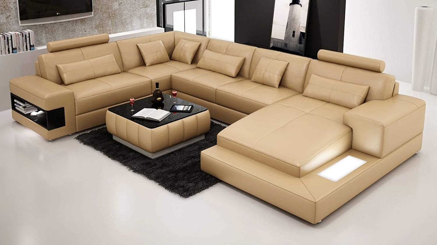 Amazon.com: My Aashis Designer Modern Large Leather Sofa Corner ...