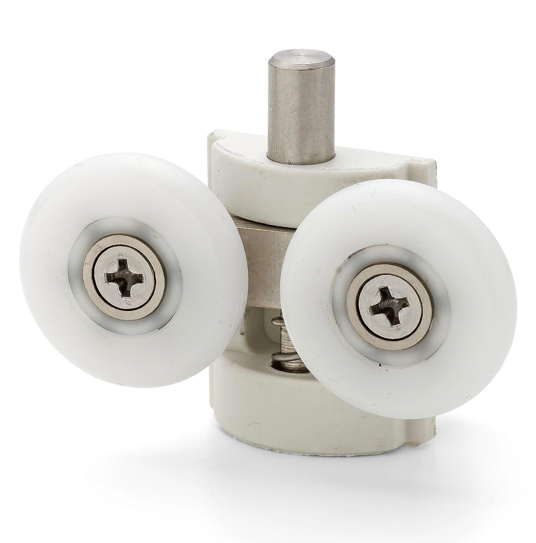 2 x Double Bottom Shower Door ROLLERS/Runners/Guides/Wheels 23mm diameter L102