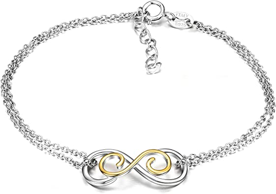 Sterling Silver Box Chain Bracelet with Infinity Link Adjustable