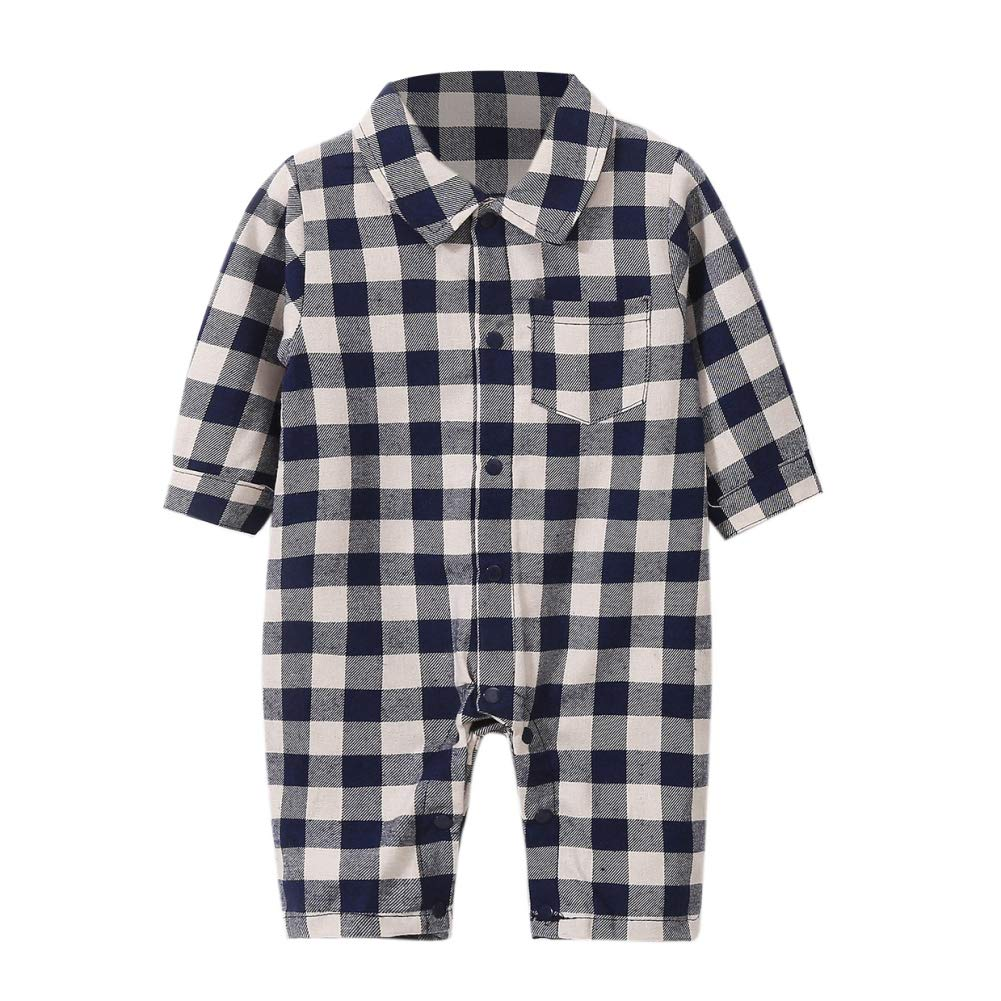 Timall Newborn Baby Boys Plaid Christmas Rompers Long Sleeve Warm Jumpsuit 0-18M