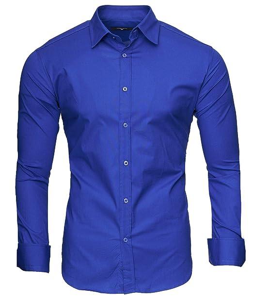 54ea671968fd Kayhan Originale Uomo Camicia Slim Fit Facile Stiro Cotone Maniche Lungo S  M L XL XXL 2XL -Modello Uni New: Amazon.it: Abbigliamento