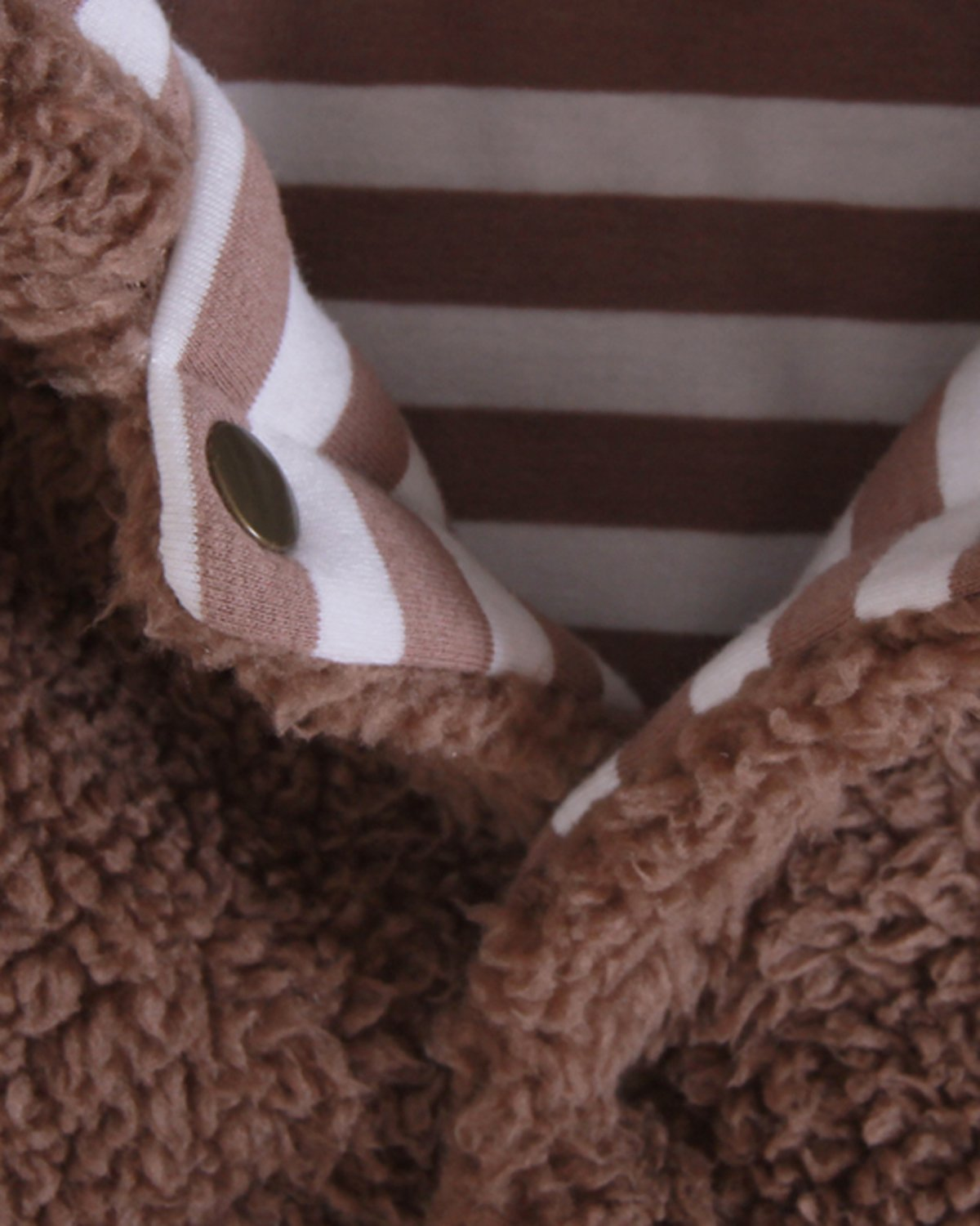Kidsform Infant Winter Snowsuit Baby Bear Hoodie Romper Outfit Fleece Bunting Pram Suit Outerwear Coat Coveralls 0-24M Brown 3-6M by Kidsform (Image #4)