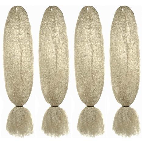 Paquete de 4 mechones jumbo de pelo brillante de fibras de kanekalon para crear peinados ondulados, trenzados y modernos. Color: rubio platinado