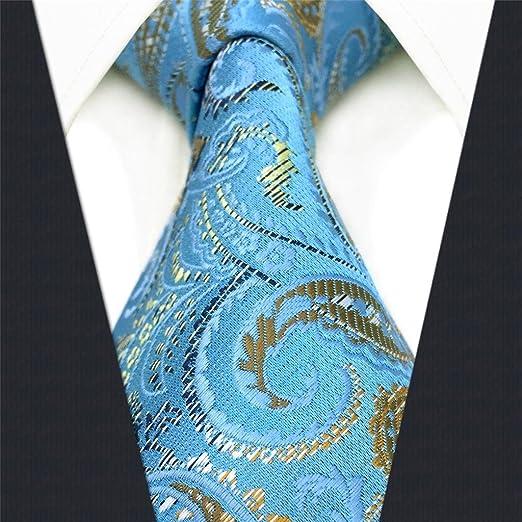shlax&wing Cachemir Azul Corbatas Para Hombre Seda Suit: Amazon.es ...