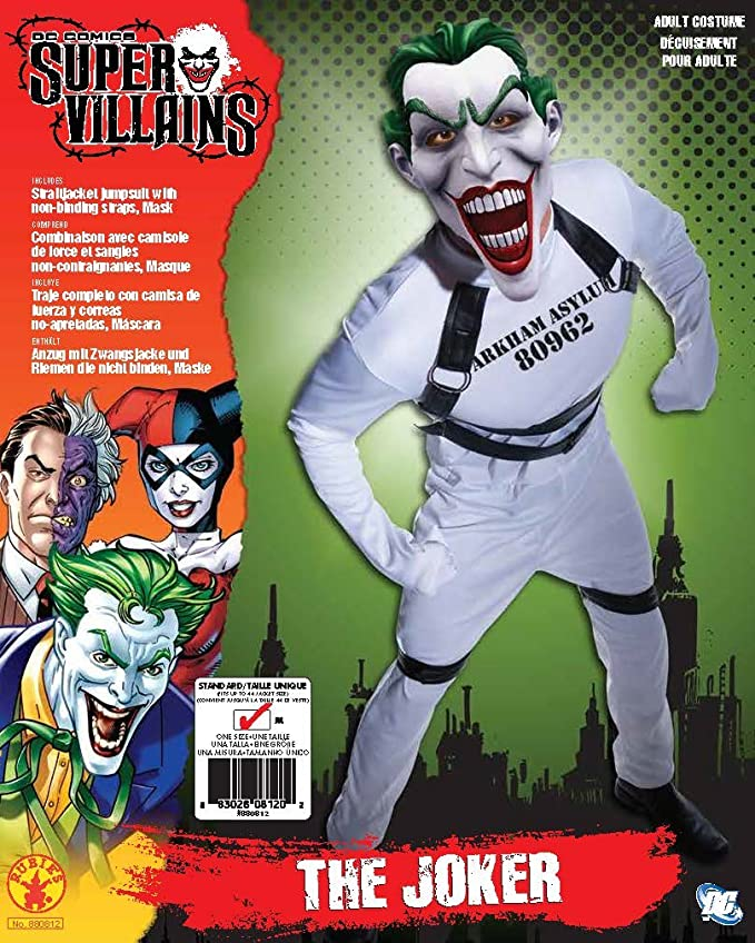 Amazon.com: Batman Arkham City Jokers Straightjacket Jumpsuit, White, Standard: Clothing