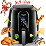 1800W Air fryer, Healthy Smokeless Low-Fat Non-stick Multi-Cooker Oilless Cooker, 5.2QT Capacity W/ Timer and Temperature Control and Detachable Basket Handles (Black)