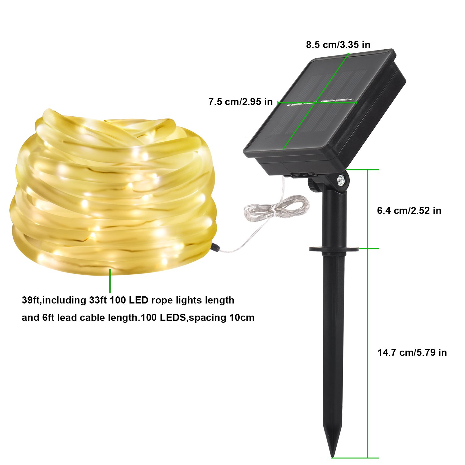 Lte Solar Led String Light Powered Rope Run Electrical Wires Underground To Reach Sheds Lights Patios And Waterproof Ip55 Warm White 3000k 33ft 100 Leds Decoration For Gardens