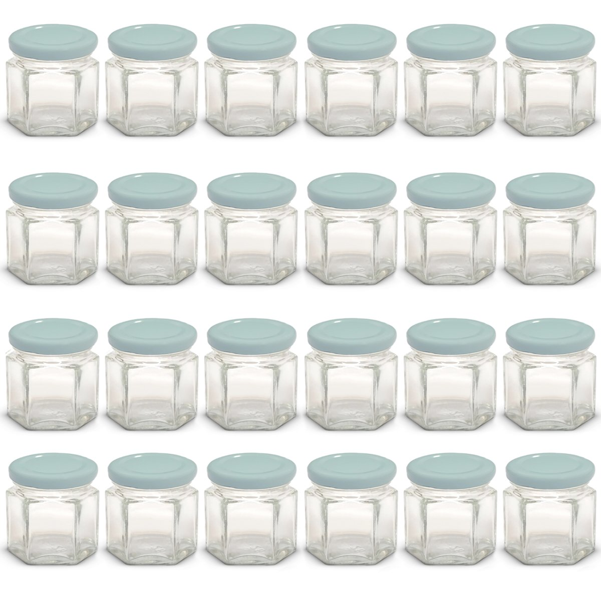 1.5 oz Hexagon Mini Glass Jars with Light Blue Lids and Labels (Pack of 24)